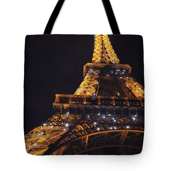 Eiffel Tower Paris France Illuminated Tote Bag by Patricia Awapara