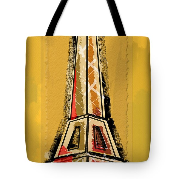 Eiffel Tower Yellow And Red Tote Bag by Robyn Saunders