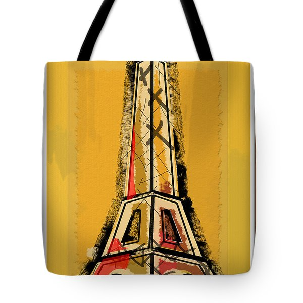 Eiffel Tower Yellow Black And Red Tote Bag by Robyn Saunders