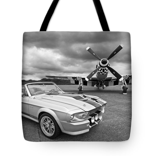 Eleanor Mustang With P51 Black And White Tote Bag by Gill Billington