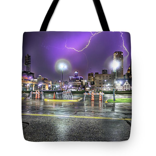 Electric Detroit  Tote Bag by Nicholas  Grunas
