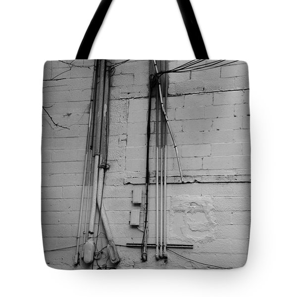 Electric Wall In Black And White Tote Bag by Rob Hans