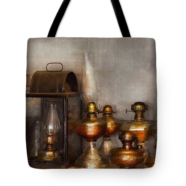 Electrician - A Collection Of Oil Lanterns  Tote Bag by Mike Savad