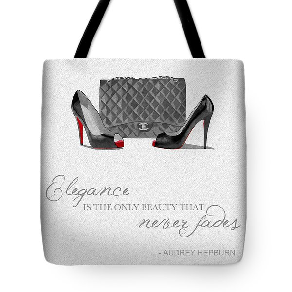 Elegance Never Fades Black And White Tote Bag by Rebecca Jenkins
