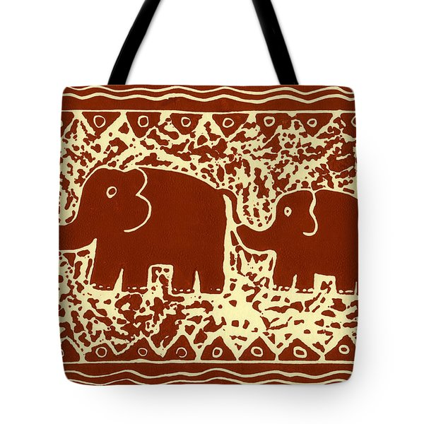 Elephant and calf lino print brown Tote Bag by Julie Nicholls