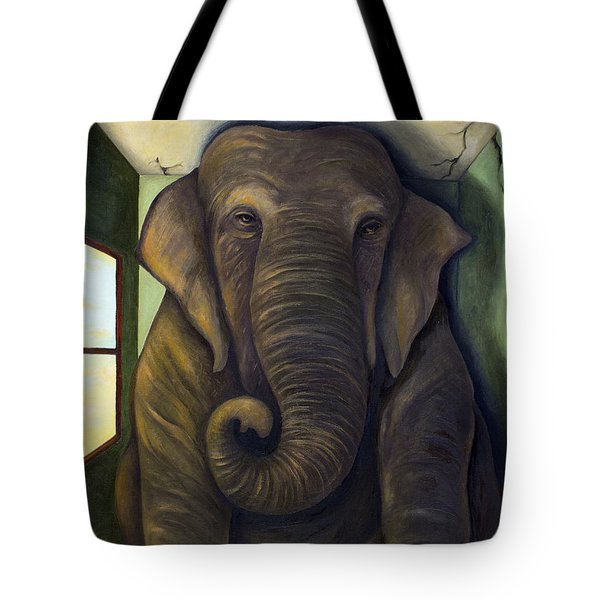 Elephant In The Room Tote Bag by Leah Saulnier The Painting Maniac