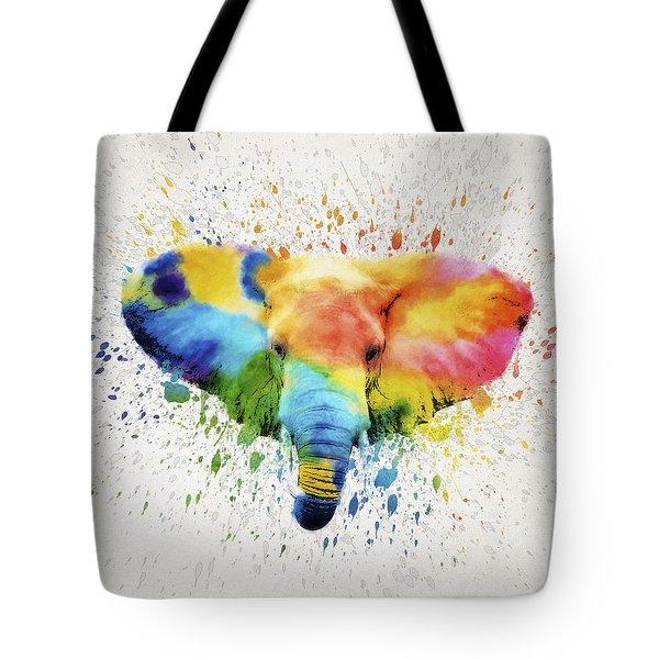Elephant Splash Tote Bag by Aged Pixel