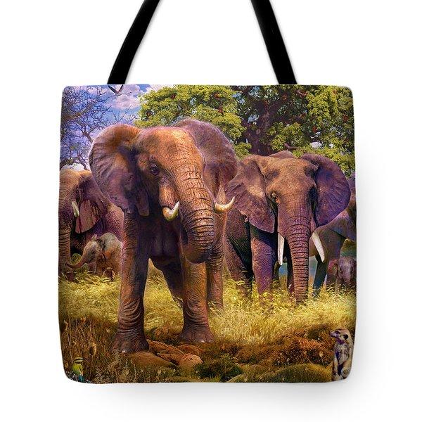 Elephants Tote Bag by Jan Patrik Krasny