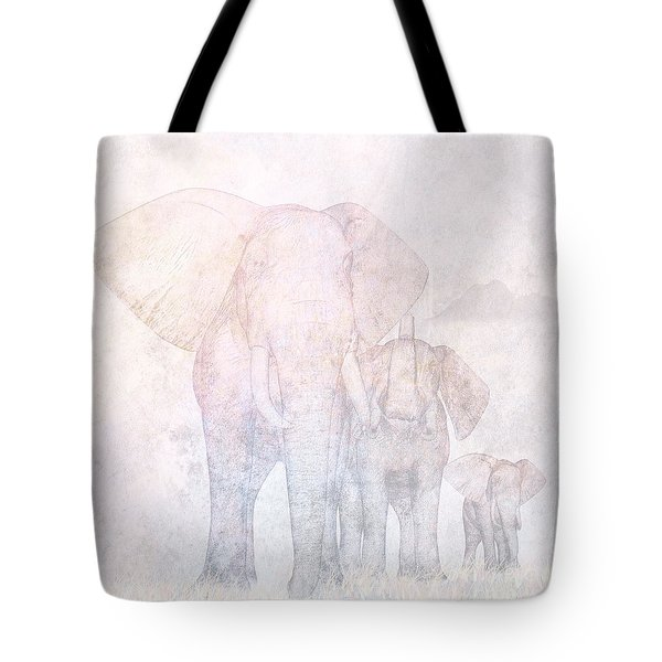 Elephants - Sketch Tote Bag by John Edwards