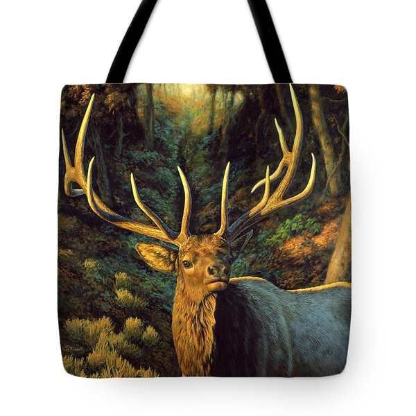 Elk Painting - Autumn Majesty Tote Bag by Crista Forest