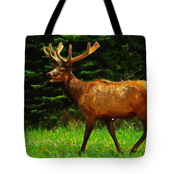 Elk Portrait Tote Bag by Ayse Deniz