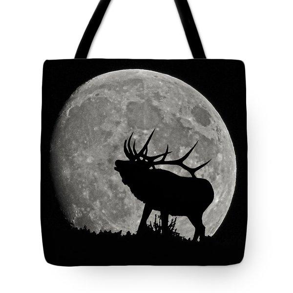 Elk silhouette on moon Tote Bag by Ernie Echols
