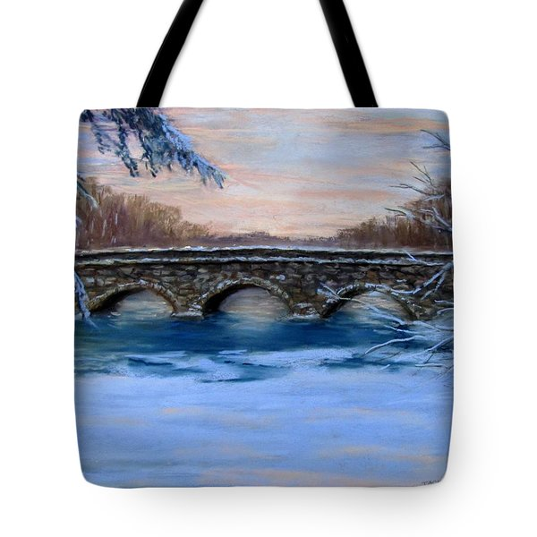 Elm Street Bridge on a Winter's Morn Tote Bag by Jack Skinner