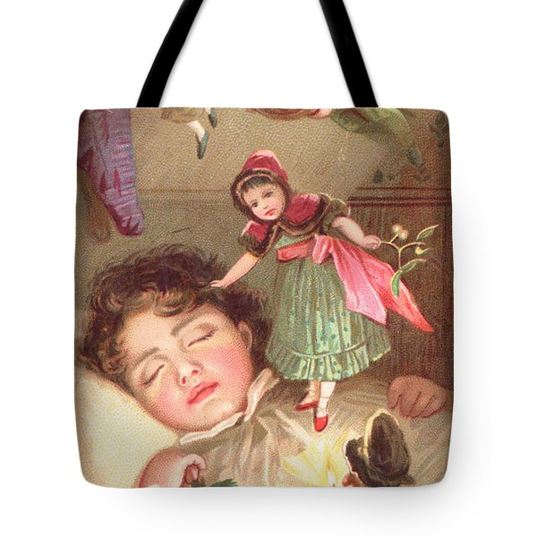Elves Delivering Christmas Gifts Tote Bag by English School