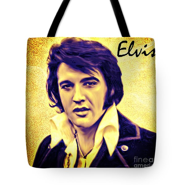 Elvis King Of Rock And Roll Tote Bag by Barbara Chichester