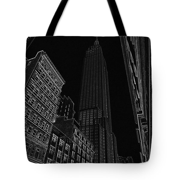 Empire Nyc White On Black Tote Bag by Meandering Photography