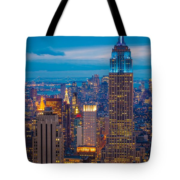 Empire State Blue Night Tote Bag by Inge Johnsson
