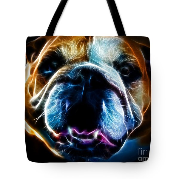 English Bulldog - Electric Tote Bag by Wingsdomain Art and Photography