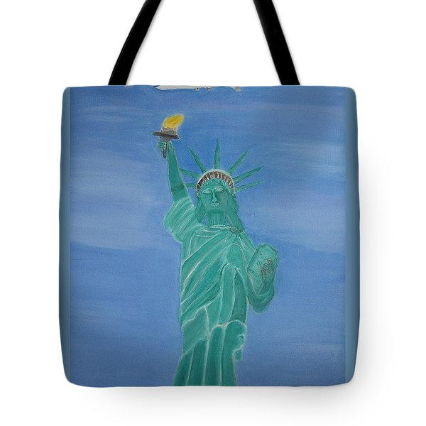 Enterprise On Statue Of Liberty Tote Bag by Vandna Mehta