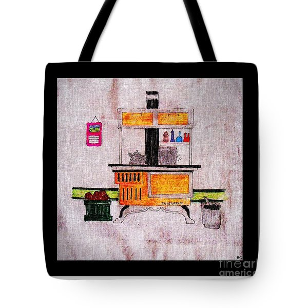 Enterprise Woodstove - Yellow Tote Bag by Barbara Griffin