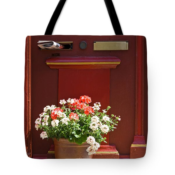 Entrance Door With Flowers Tote Bag by Heiko Koehrer-Wagner