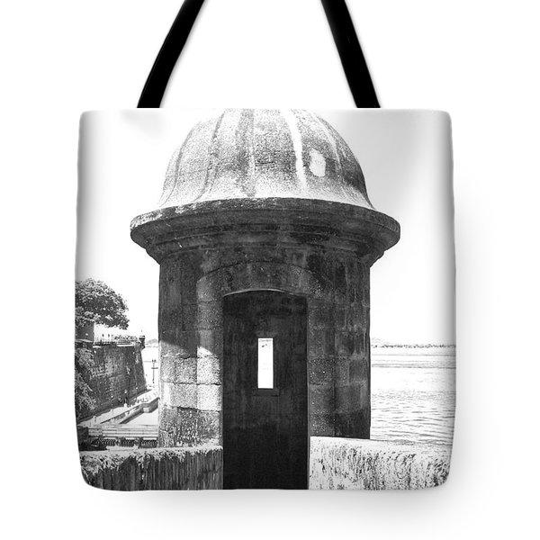 Entrance To Sentry Tower Castillo San Felipe Del Morro Fortress San Juan Puerto Rico Bw Film Grain Tote Bag by Shawn O'Brien