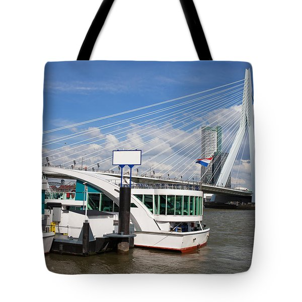Erasmus Bridge in Rotterdam Downtown Tote Bag by Artur Bogacki