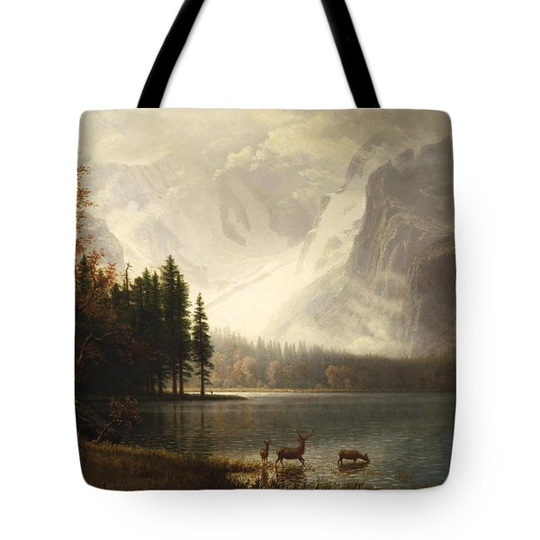 Estes Park Colorado Whytes Lake Tote Bag by Albert Bierstadt