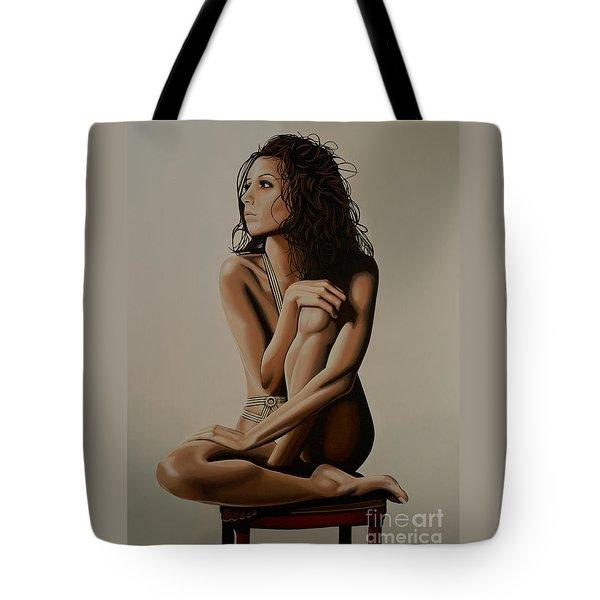 Eva Longoria Painting Tote Bag by Paul Meijering