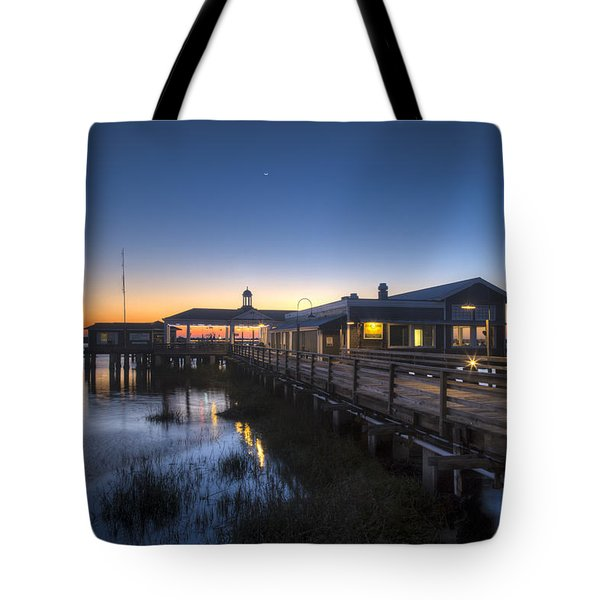 Evening Sky At The Dock Tote Bag by Debra and Dave Vanderlaan