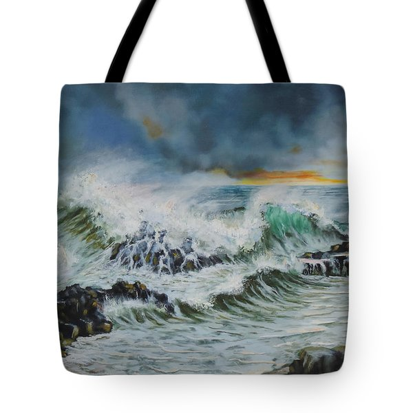 Evening Surf At Castlerock Tote Bag by Barry Williamson