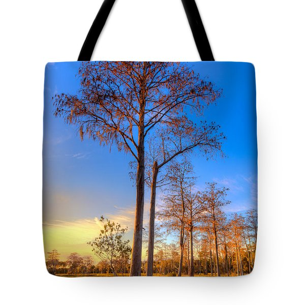 Everglades At Sunset Tote Bag by Debra and Dave Vanderlaan