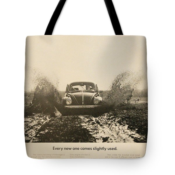 Every New One Comes Slightly Used - Vintage Volkswagen Advert Tote Bag by Nomad Art And  Design