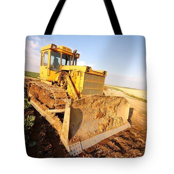 Excavator Working Tote Bag by Michal Bednarek