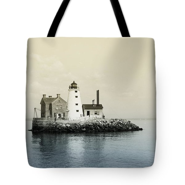 Execution Rocks Lighthouse New York Tote Bag by Digital Reproductions