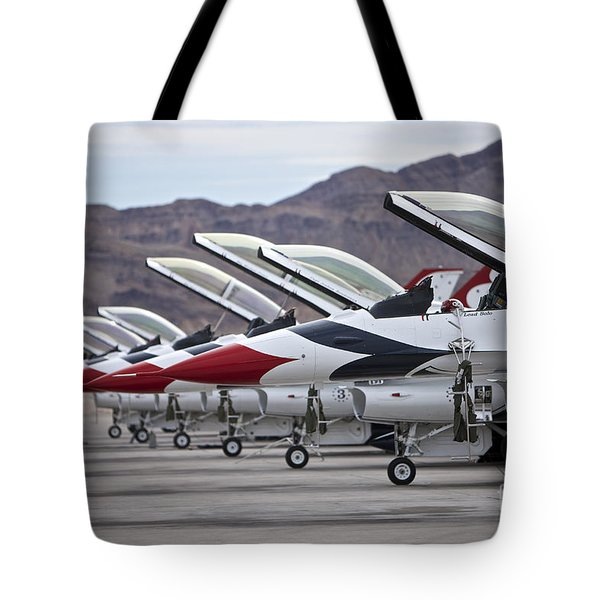 F-16c Thunderbirds On The Ramp Tote Bag by Terry Moore