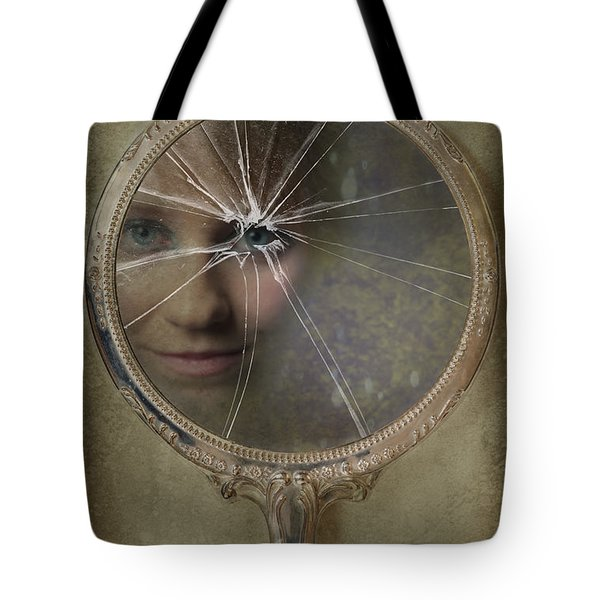 Face In Broken Mirror Tote Bag by Amanda And Christopher Elwell