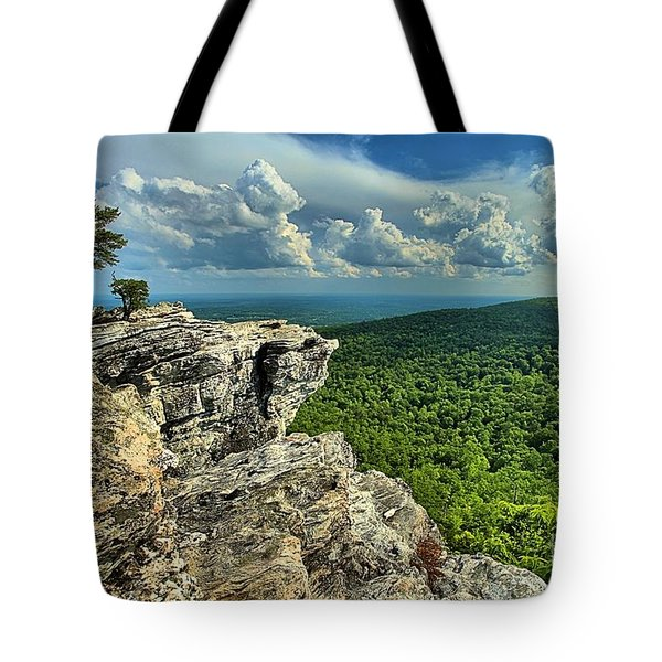 Face In The Cliff Tote Bag by Adam Jewell