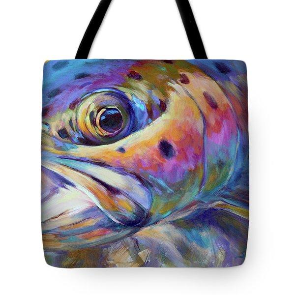 Face Of A Rainbow- Rainbow Trout Portrait Tote Bag by Savlen Art