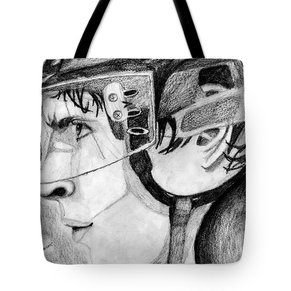 Faceoff Focus Tote Bag by Kayleigh Semeniuk