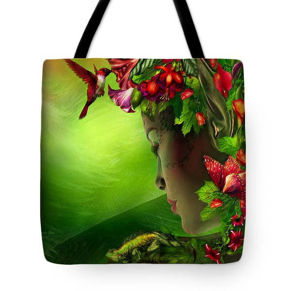 Fae In The Flower Hat Tote Bag by Carol Cavalaris