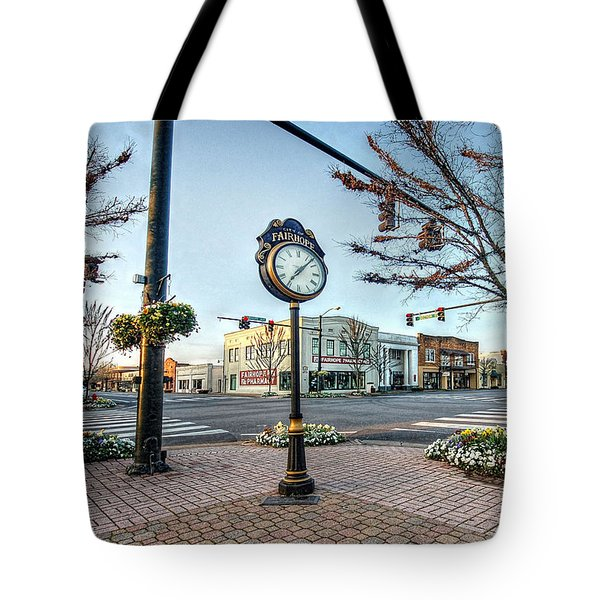Fairhope Clock And 4 Corners Tote Bag by Michael Thomas