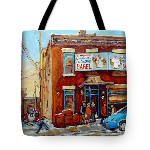 FAIRMOUNT BAGEL IN WINTER MONTREAL CITY SCENE Tote Bag by CAROLE SPANDAU