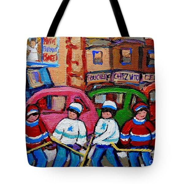 Fairmount Bagel Street Hockey Game Tote Bag by Carole Spandau