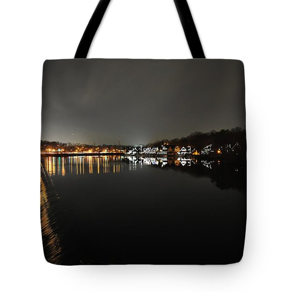 Fairmount Dam And Boathouse Row In The Evening Tote Bag by Bill Cannon