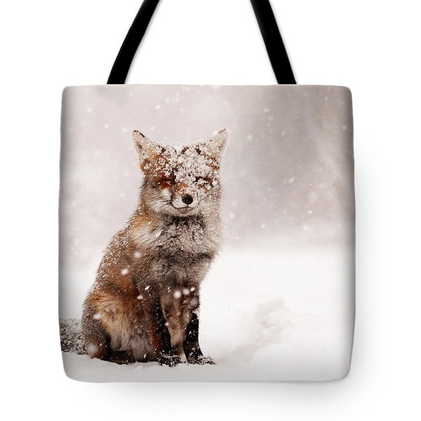 Fairytale Fox _ Red Fox In A Snow Storm Tote Bag by Roeselien Raimond