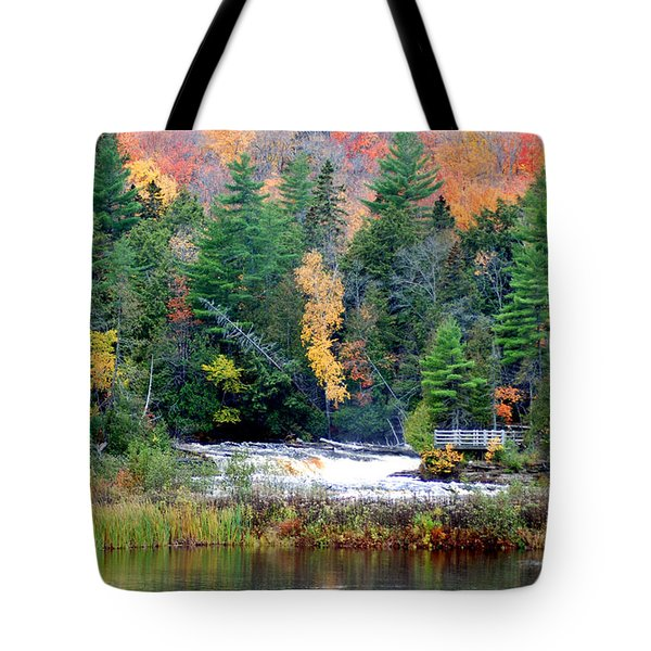 Fall Colors On The  Tahquamenon River   Tote Bag by Optical Playground By MP Ray