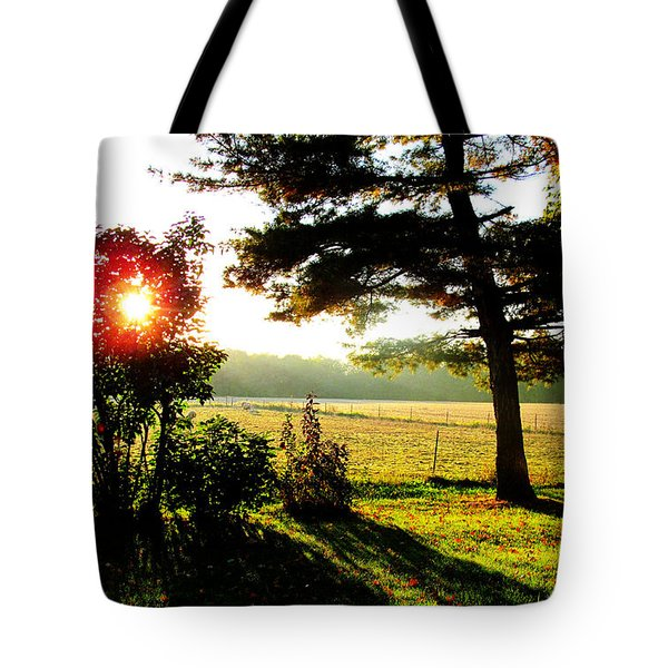 Fall Farm Sunrise 10 10 13 Tote Bag by Tina M Wenger