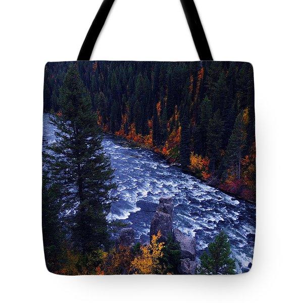 Fall Lined RIver Tote Bag by Raymond Salani III