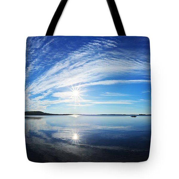 Fall Morning at Meddybemps Panorama Tote Bag by Bill Caldwell -        ABeautifulSky Photography